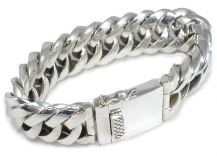 Mens Very Unusual Triangular Link Chunky Bracelet Sterling Silver